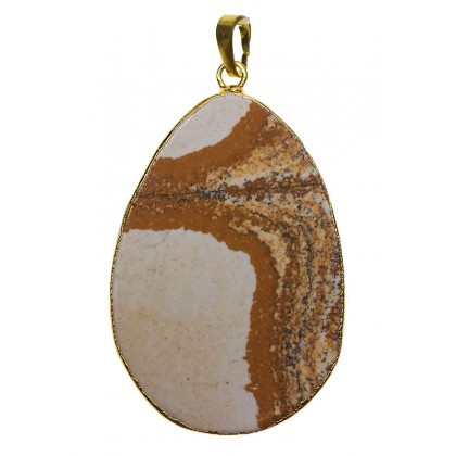Beads, Pendant, Picture Jasper, 34x38mm-60x65mm, Natural, Flat Teadrop, Diy, L1-01290