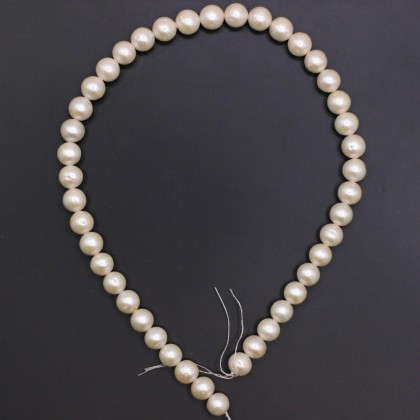 Beads, Cultured Freshwater Pearl,10-11mm, Cream, Semi Round, Diy, L1-01251