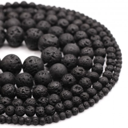 Natural Waxed Black Lava Rock Gemstone Beads, 4mm-14mm, Round, L1-02157