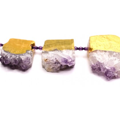 Natural Amethyst Gemstone Beads, 13x18mm-32x38mm, Top-drilled Druzy Nugget, L1-02351