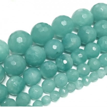 A Grade Natural Amazonite Gemstone Beads, 4mm-12mm, Faceted Round, L1-02400