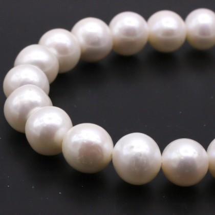 Beads, Pearl Bead, 8mm-9mm, Cultured Freshwater Pearl, Cream, Semi-Round, Diy, L1-02558