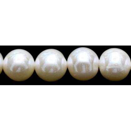 Beads, Pearl Bead, 9mm-10mm, Cultured Freshwater Pearl, Cream, Semi-Round, Diy, L1-02559
