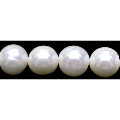 Beads, Pearl Bead, 10mm-11mm, Cultured Freshwater Pearl, Cream, Semi-Round, Diy, L1-02560