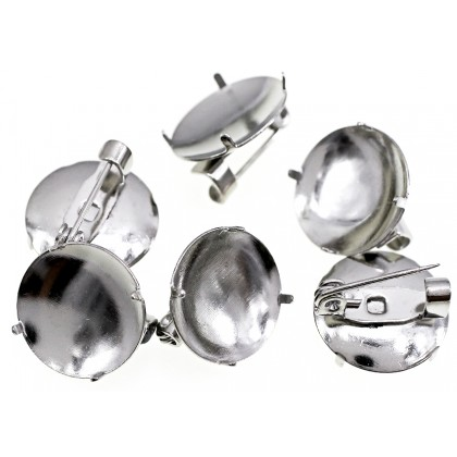 Beads, Brooch Pin, 15-17mm, SELECT YOUR SIZE, Antique Silver Plated, Brass, Round, Diy, L1-02885