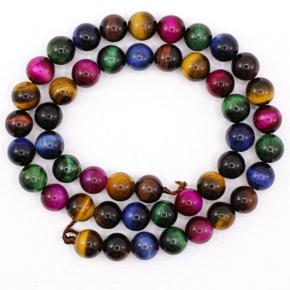 Stone Bead,Tiger Eye, Multi Colour, 8mm-12mm, Round, L1-05227