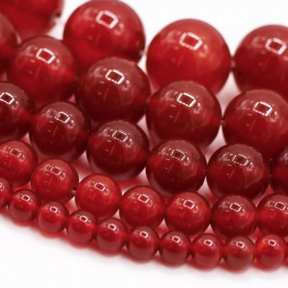 Natural Red Agate Gemstone Bead, 4mm-12mm, Round Shape, L1-05240