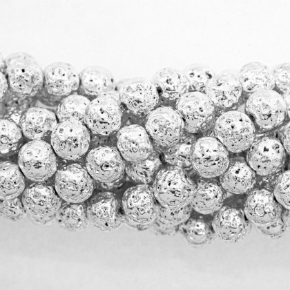 Coated Lava Stone, Silver Plated, 8mm-10mm, Round, L1-05271