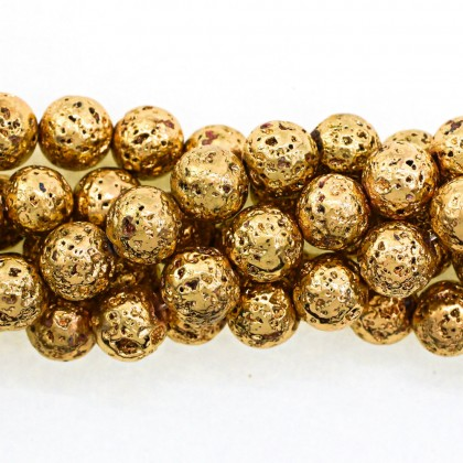 Coated Lava Stone, Light Gold Plated, 8mm-10mm, Round, L1-05267
