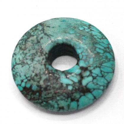 20-36mm Howlite Pendant Gemstone, Turquoise Colour, Ruond, L1-05473