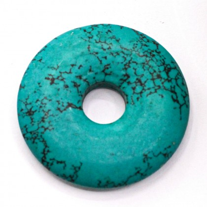 20-36mm Howlite Pendant Gemstone, Turquoise Colour, Ruond, L1-05473
