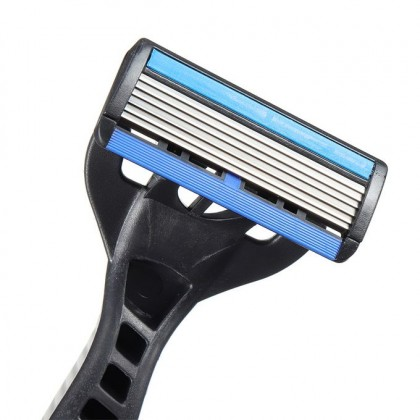 2 pcs Pivoting Head Technology Men Shaver, 6 Layer Blade, Rubber Handle Razor