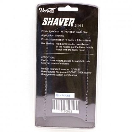 3 in 1 Shaver Men, 3 layer Blade, Rubber Handle Razor for Men