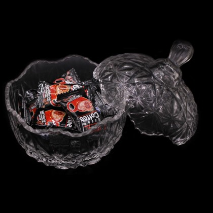 Candy Jar Glass Crystal, Storage Organiser,  10x12cm, Transparent Display, Jar Bowl