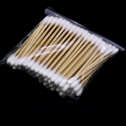 100Pcs Bamboo Double Cotton Swabs Wood Sticks Buds Ears Cleaning Supplies Makeup Tools