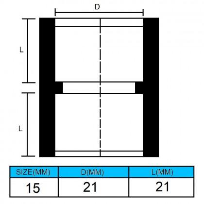 "15mm(1/2"") PVC Fitting Double End D/E Socket Grey"