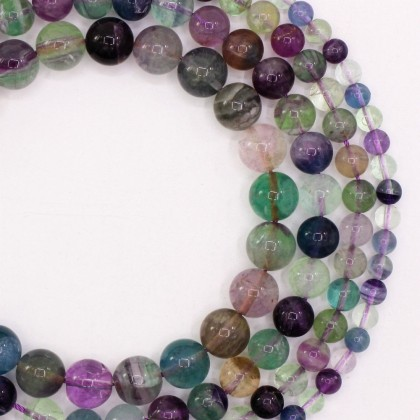 Natural Fluorite Gemstone Beads, 6mm-12mm, Round, L2-02313