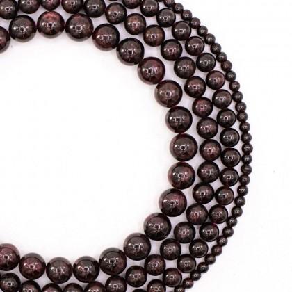 Natural Garnet Gemstone Beads, 3mm-9mm, Round, L2-02317