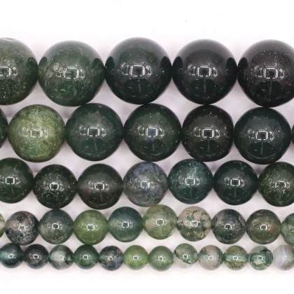 Natural Moss Agate Gemstone Beads, 4mm-12mm, Smooth Round, L2-02374