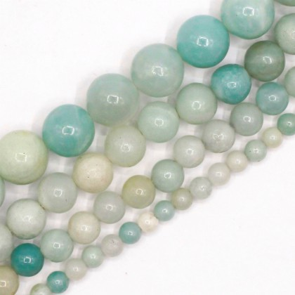 Natural Amazonite Gemstone Beads, 4mm-10mm, Smooth Round, L2-02350
