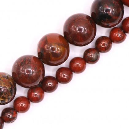Natural Brecciated Jasper Gemstone Beads, 4mm-8mm, Smooth Round, L2-02398