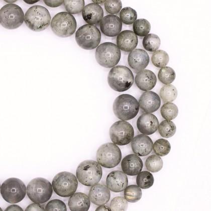 Natural Labradoite Gemstone Beads, 8mm-12mm, Smooth Round, L2-02395