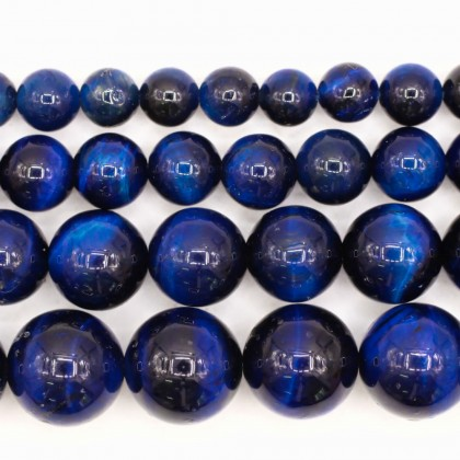 Blue Tiger Eye Gemstone Beads, 6mm-12mm, Smooth Round, L2-02419
