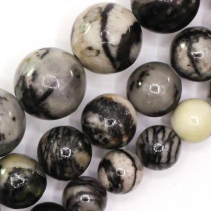 Natural Black Line Jasper Gemstone Beads, 6mm-10mm, Smooth Round, L2-02183