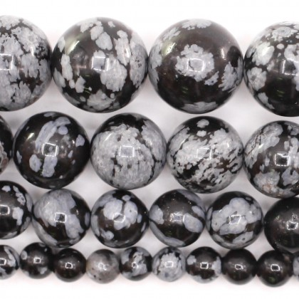 Natural Snowflake Obsidian Gemstone Beads, 4mm-10mm, Smooth Round, L2-02168