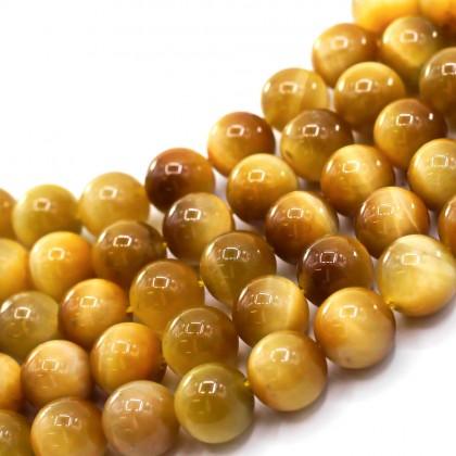 Natural Honey Yellow Tiger Eye Gemstone Beads, 8mm, Round, L2-02060