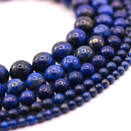 Natural Lapis Lazuli Gemstone Beads, 4mm-12mm, Smooth Round, L2-05176