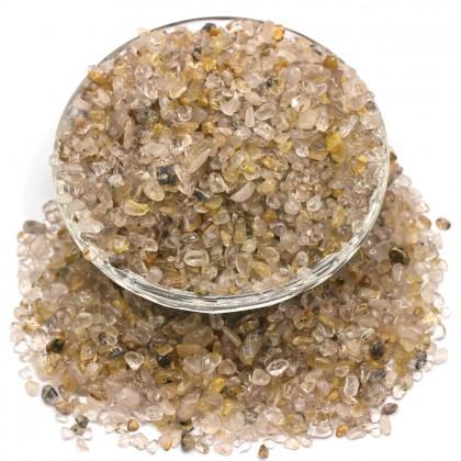 Mini Chip, 3x5mm, Stone Bead, Embellishment, Gold Rutilated Gravel, Diy, L2-01282