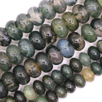 Bead, Natural Moss Agate Gemstone Beads, 4x6mm-5x8mm, Rondelle, L2-05840