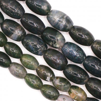 Bead, Natural Moss Agate Gemstone Beads, 6x9mm-8x12mm, Oval, Diy, L2-05848