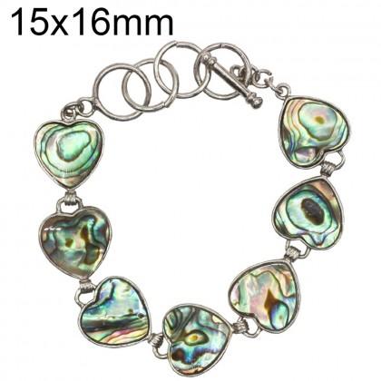 Natural Paua Shell Bracelet Heart