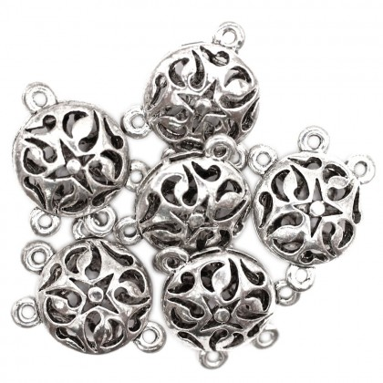 Beads, Connector Link, 23x18mm, Antique Silver Plated, Zinc Alloy, Round, Diy, L1-04248