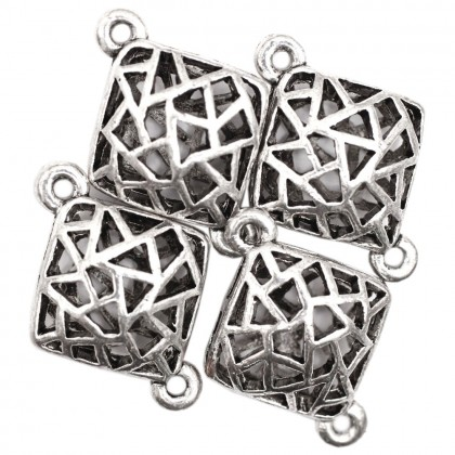 Beads, Connector Link, 23x18mm, Antique Silver Plated, Zinc Alloy, Diamond, Diy, L1-04258