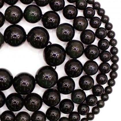 Natural Black Obsidian Gemstone Beads, Stone Bead, 4mm-12mm, Smooth Round, Diy, L3-02413