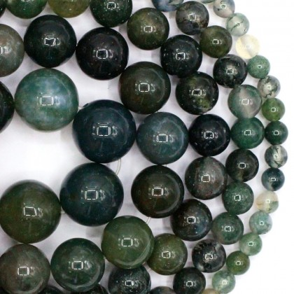 Natural Moss Agate Gemstone Beads, Stone Bead, 4mm-12mm, Smooth Round, Diy, L3-02374