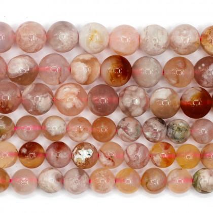 Natural Cherry Blossom Agate Gemstone Beads, Sakura Agate, Stone Bead, 8mm-10mm, Smooth Round, Diy, L2-05212