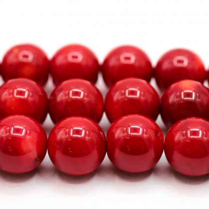 Beads, Coral Bead, Bamboo Coral, 14mm, Red, Round, Diy, L1-00386