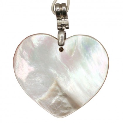 Natural Shell Pendant (Dyed/Coated), Rhodium Plated Brass, 45x40mm, Heart, L2-05478