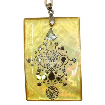 Natural Shell Pendant (Dyed/Coated), Rhodium Plated Brass, 51x35mm, Rectangle, L2-05494