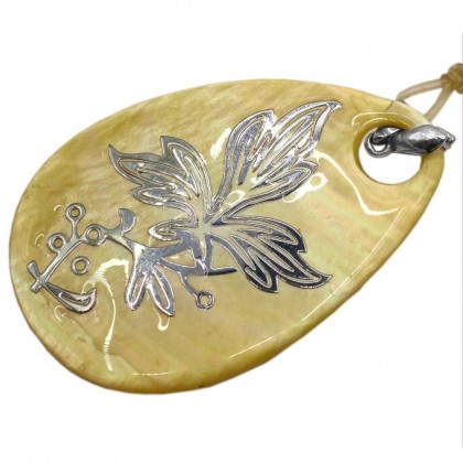 Natural Shell Pendant (Dyed/Coated), Rhodium Plated Brass, 40x60mm, Teardrop, L2-05496