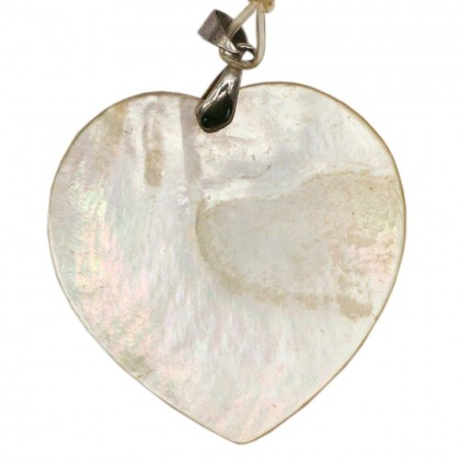 Natural Shell Pendant (Dyed/Coated), Rhodium Plated Brass, 50x50mm, Heart, L2-05499