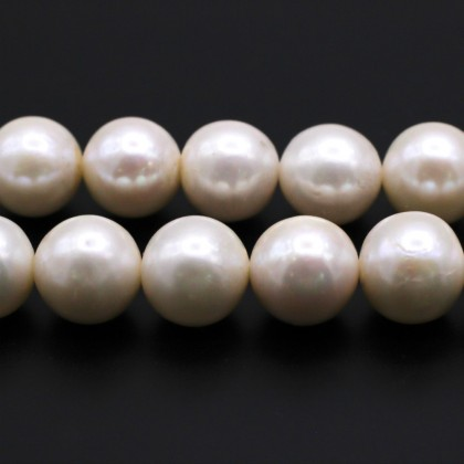 Beads, Cultured Freshwater Pearl, 11-12mm, Natural, Semi Round, Diy, L1-01255